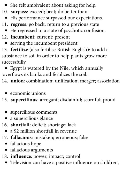 لغت آیلتس لیست کامل
